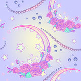 Pastel goth rose bouquets and pearls seamless pattern Royalty Free Stock Photos