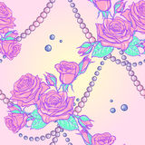 Pastel goth rose bouquets and pearls seamless pattern Royalty Free Stock Image