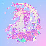 Pastel goth unicorn with crescent stars and roses greeting card Stock Photography