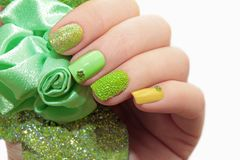 Pastel green manicure. stock images