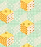Pastel green and orange cubes. Seamless patchwork design. Stock Photo