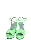 Pastel green suede women shoe isolated. On white background Royalty Free Stock Images
