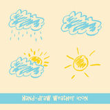 Pastel hand drawn doodle weather icons Stock Image