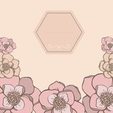 Pastel hand drawn frame with flowers pink color. Royalty Free Stock Photo