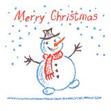 Crayon child`s drawing merry christmas funny snowman with lettering on white. Pastel hand painting. Kids drawing vector illustration stock illustration