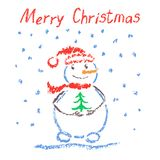 Crayon like child`s drawing merry christmas funny smiling snowman with lettering, christmas tree and falling snowflakes. stock illustration