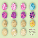 Pastel happy easter eggs set with pattern or ornament Stock Photos
