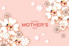Pastel Happy Mothers Day. Brilliant stones. White Paper cut flower. Rhombus frame. Stock Images
