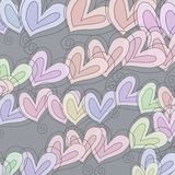 Pastel Heart Pattern. A digitally created abstract pattern made up of hand drawn whimsical love heart shapes stock images