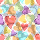 Pastel hearts and circles, soft colored abstract background tile. Stock Images