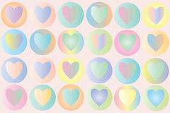 Pastel hearts - Vector. An array of colored circles with pastel coloured hearts - Vector stock illustration