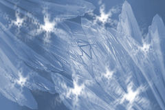 Pastel Icy Flower Petals. Pastel thin blue icy flower petals on cold background with snowflakes Royalty Free Stock Photo