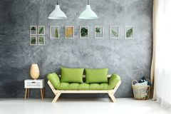 Pastel lamps above green sofa. Set of framed tropical leaves and pastel lamps hanging above green wooden sofa, white cupboard and wicker basket with pillows royalty free stock images