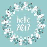 Pastel laurel vector wreath hello 2017 Royalty Free Stock Image