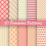 Pastel Loving Wedding Vector Seamless Patterns Stock Photo