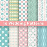 Pastel loving wedding vector seamless patterns stock illustration