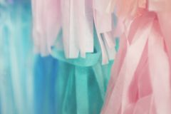Pastel color ribbons abstract background. stock image