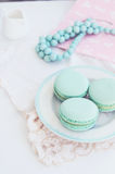 Pastel minty macaroon on light background. Plate with pastel mint macaroon on vintage lace doily on light background Stock Photography