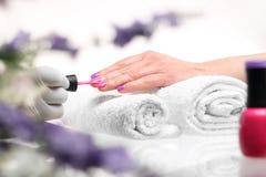 Pastel nails, purple nail polish Royalty Free Stock Photo