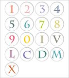 Pastel numbers. Latin and roman Royalty Free Stock Images
