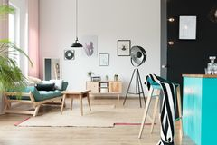 Pastel open space interior. In stylish loft royalty free stock photography