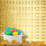 Pastel ornamental background with multicolored eggs Stock Photography