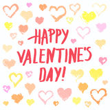Pastel painted hearts valentine card. Valentines day background. Grunge painted hearts set on white background and Happy Valentines Day lettering. Brush strokes Royalty Free Stock Photo