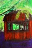 Pastel painting of abandoned circus van. A pastel painting of abandoned circus van stock illustration