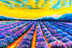 Pastel Painting - Lavender Field at Provence, France Royalty Free Stock Images
