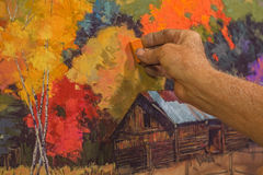 Pastel Painting. Original Hand Painting Pastel Art Being Drawn By An Artist Stock Image