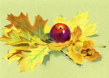 Pastel painting - red apple and autumn leaves. My pastel painting - red apple and autumn leaves Stock Photo