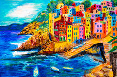 Pastel Painting - Riomaggiore, Italy Royalty Free Stock Photo