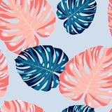 Pastel palm leaves pattern Stock Photography