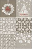 Pastel paper wallpaper and greeting card with snowflakes for winter holidays Stock Photography
