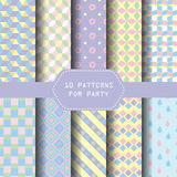 Pastel party pattern. 10 different geometric patterns. pastel concept, Endless texture can be used for wallpaper, pattern fills, web page background,surface Royalty Free Stock Photo