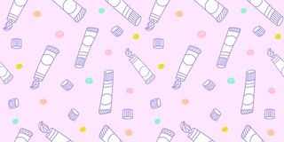 Pastel pattern seamless. Kawaii paint tube hand drawn doodle on baby pink background for kid prints, baby fabric print, wallpaper. Textile, wrapping paper royalty free illustration