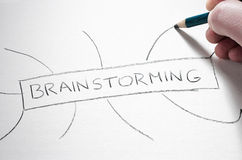 Pastel pencil writing the word brainstorming. Royalty Free Stock Image
