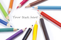 Pastel pencils in 12 colors focus on texts Royalty Free Stock Images