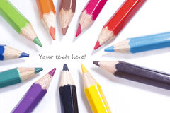 Pastel pencils in 12 colors focus on texts Stock Photo