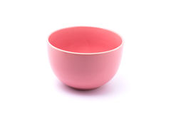 Pastel pink bowl. Isolated with white background stock image