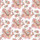 Pastel pink brown seamless pattern with a strawberry, leaves and flowers () Royalty Free Stock Photo