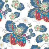 Pastel pink brown seamless pattern with a strawberry, leaves and flowers. Vector. Royalty Free Stock Image