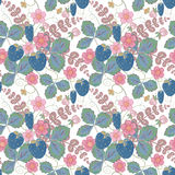 Pastel pink brown seamless pattern with a strawberry, leaves and flowers.Vector EPS10. Pastel pink blue brown seamless pattern with a strawberry, leaves and Stock Photos