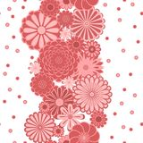 Pastel pink circle daisy flowers on white seamless border, vector. Background Stock Image