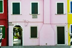 Burano. Pastel pink colored house  in the old town of Burano, a little island  in Venice lagoon, Italy Stock Photography
