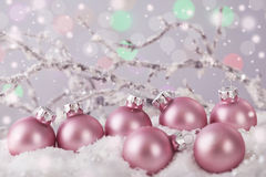 Pastel pink colored ornaments stock images
