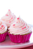 Pastel pink cupcakes Stock Images