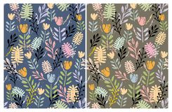 Hand Drawn Cute Floral Vector Patterns Set. Dark Blue and Brown Backgrounds. Pastel Pink, Grey and Mint Green Colors. Blue, Pink and Yellow Flowers. Green vector illustration