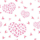 Pastel pink hearts with flying birds. Repeated pattern. Watercolor Royalty Free Stock Images