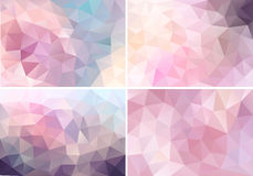 Pastel pink low poly backgrounds, vector set Royalty Free Stock Images